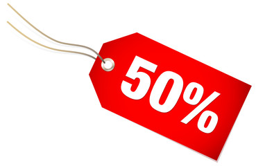 """Label """"50%"""" Red"""