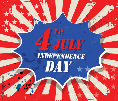 Independence day vintage abstract, vector illustration