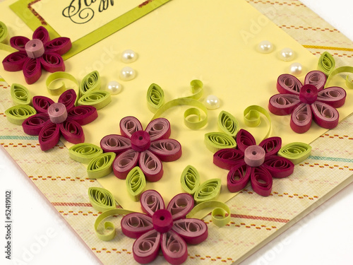 hand-made post card with quilling flowers