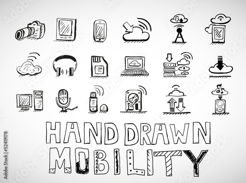 Hand drawn mobility icons doodles