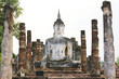 Ancient buddha statue. Sukhothai historical park, the old town o