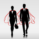 Business heroes couple with red cloak