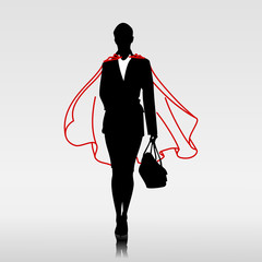 Businesswoman hero with red cloak