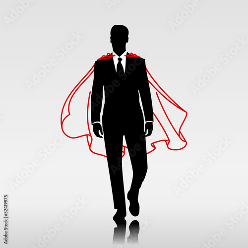 Businessman hero with red cloak