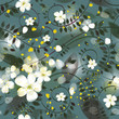 Forest white flowers / Floral decorative wallpaper