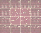 Vector European calendar for 2014 year.