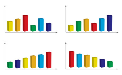 set of color graphs - vector