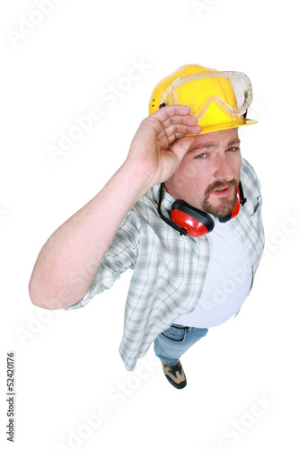 Tradesman in a photo studio