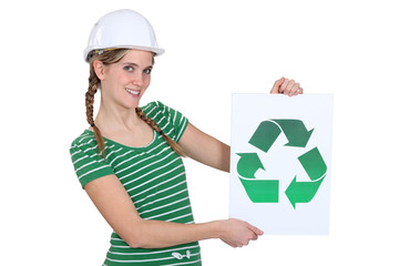 Woman with recycling symbol