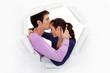Man kissing girlfriend on forehead
