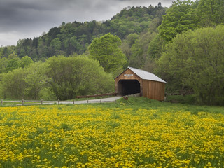 New England covered bridge in the state of Vermont