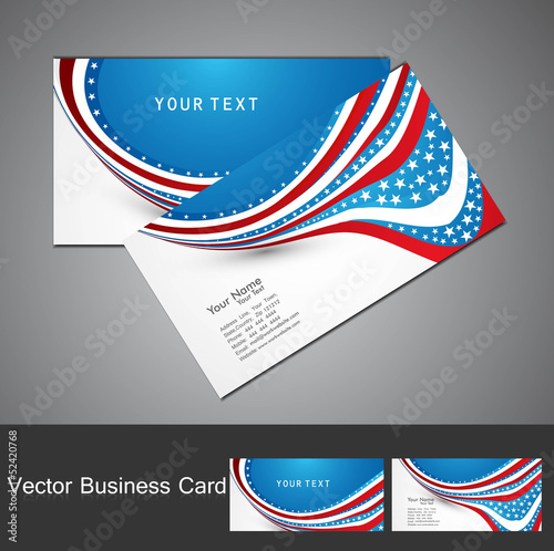 4th july business card set wave design  illustration