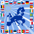 27 icons of european union with map
