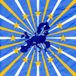 blue background with european union map