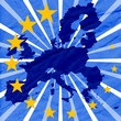 blue background with european union map and yellow stars