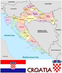 Croatia emblem map symbol administrative divisions