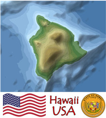 Hawaii Pacific  America emblem map symbol island