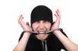 Man Gnaw his Handcuffs