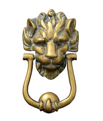 Isolation Of A Ornate Brass Lion Door Knocker WIth Clipping Path