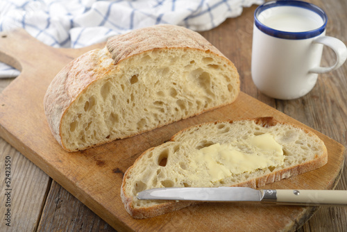 Bread with butter and milk