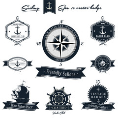 Vintage Nautical Badge set
