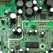 Green circuit board close up