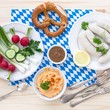 Oktoberfest meal: Weißwürste and Obatzda