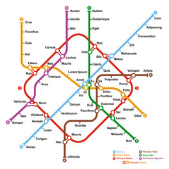 Fictional metro map. Vector illustration.