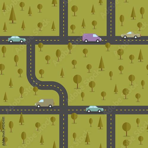Foto op Plexiglas Op straat Abstract forest seamless pattern. Vector illustration.
