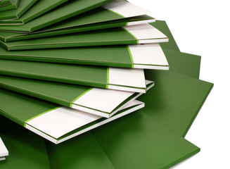 Many green folders closeup