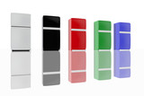 Group of fridges in several colors