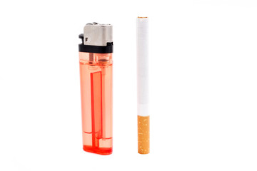 cigarette and a lighter on white