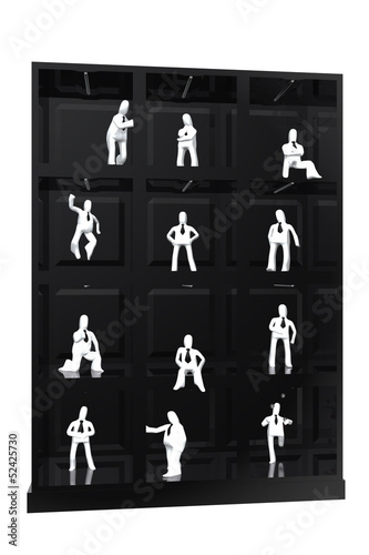 Showcase of businessmen figures