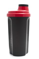 protein shaker bottle on white