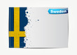 Stitched Sweden flag with grunge paper frame