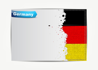 Stitched Germany flag with grunge paper frame