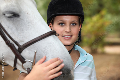 Rider with white horse