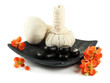Herbal compress balls for spa treatment and spa stones isolated