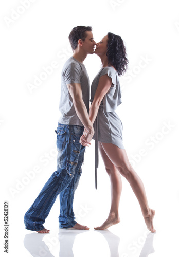 Lovely passion dance couple kissing