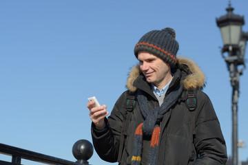 Tourist with smartphone