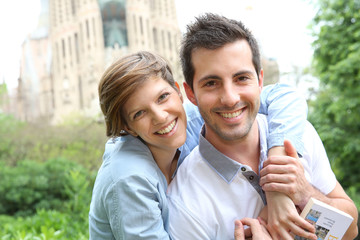 Portrait of cheeful couple in Barcelona
