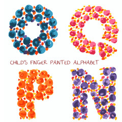 colorful funny paint alphabet o,q,p,n letters