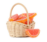 orange jelly candy in a basket