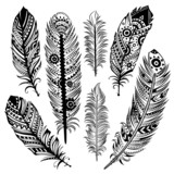Set of ethnic feathers