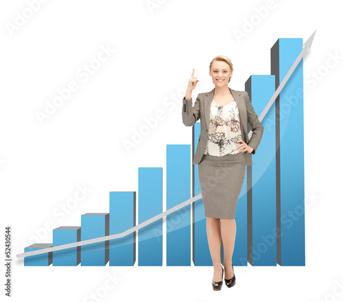 businesswoman with big 3d chart