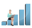 businesswoman sitting on big 3d chart