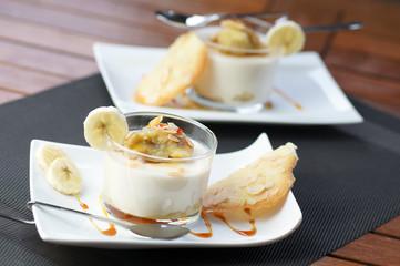 panna cotta banane et amandes grillées 3