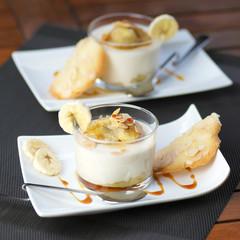 panna cotta banane et amandes grillées format carré