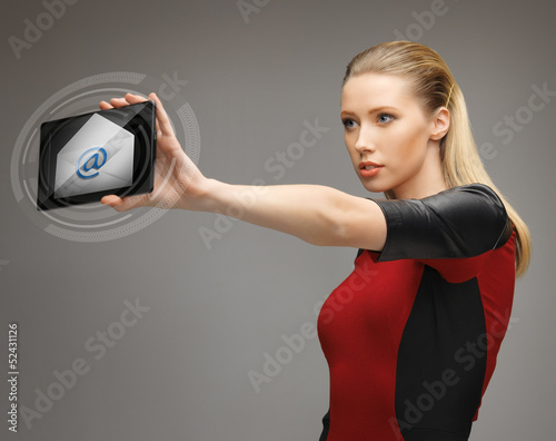 woman with tablet pc and email icon