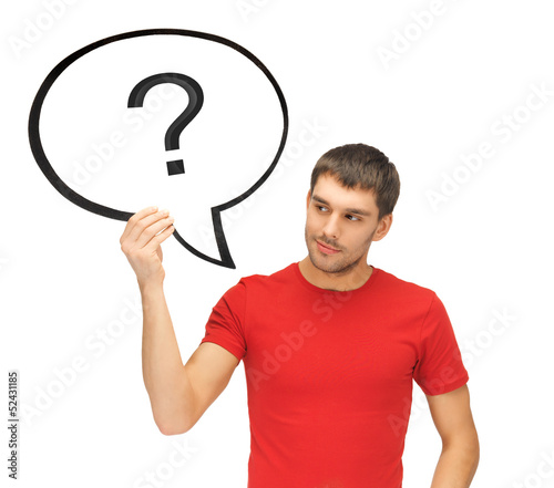 man with text bubble and question mark